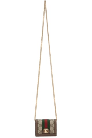 구찌 Gucci Brown GG Supreme Ophidia Chain Wallet Bag