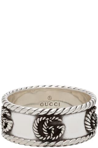 구찌 텍스쳐드 더블 G 링 Gucci Silver Textured Double G Ring