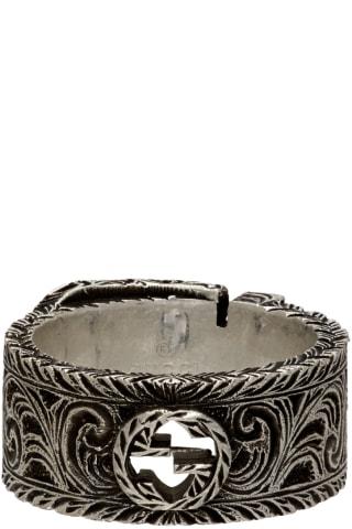 구찌 인터락킹 G 가든 링 Gucci Silver Interlocking G Garden Ring