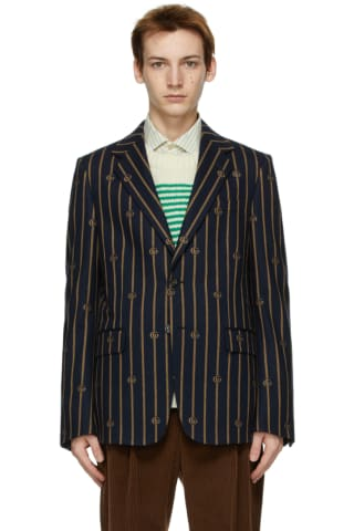Gucci Navy & Brown Flannel Double G Jacket