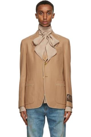 Gucci Tan Flannel Classic Blazer