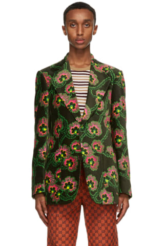 Gucci Green Ken Scott Edition Velvet Floral Palace Blazer