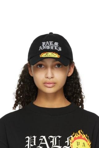 팜 엔젤스 Palm Angels Black Smiley Edition Burning Cap,Black/Yellow