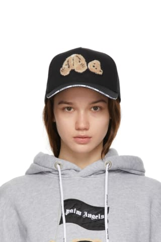팜 엔젤스 Palm Angels Black Bear Trucker Hat,Black/Brown