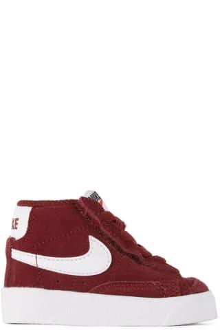 나이키 베이비 아기 운동화 Nike Baby Burgundy Suede Blazer Mid 77 Sneakers,Team red/White/Black