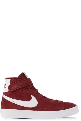나이키 키즈 운동화 Nike Kids Burgundy Suede Blazer Mid 77 Sneakers,Team red/White/Black