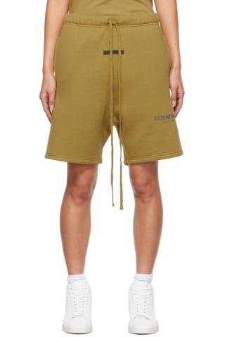 피어오브갓 에센셜 21FW 우먼 플리스 반바지 Essentials Green Fleece Shorts,Amber