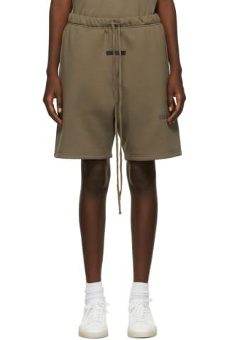 피어오브갓 에센셜 21FW 우먼 플리스 반바지 Essentials Taupe Fleece Shorts,Harvest
