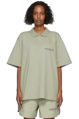 피어오브갓 에센셜 21FW 우먼 저지 폴로 Essentials Khaki Jersey Polo,Pistachio