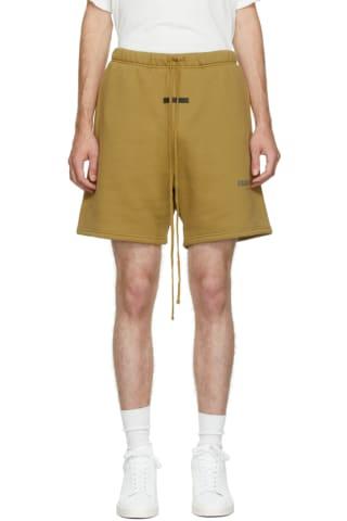 피어오브갓 에센셜 21FW 플리스 반바지 Essentials Green Fleece Shorts,Amber