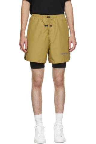 피어오브갓 에센셜 21FW 반바지 Essentials Green Volley Shorts,Amber