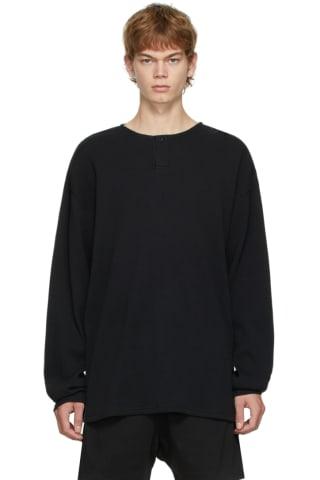 피어오브갓 에센셜 21FW 긴팔 티셔츠 Essentials Black Thermal Henley