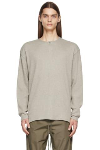피어오브갓 에센셜 21FW 긴팔 티셔츠 Essentials Grey Thermal Henley,Heather