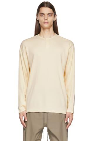 피어오브갓 에센셜 21FW 긴팔 티셔츠 Essentials Off-White Thermal Henley,Cream