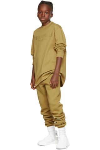 피어오브갓 에센셜 21FW 키즈 긴팔 티셔츠 Essentials Kids Green Logo Long Sleeve T-Shirt,Amber