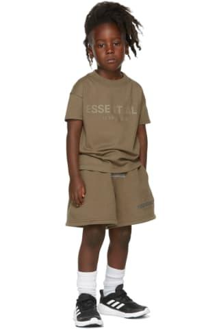 피어오브갓 에센셜 21FW 키즈 반팔 티셔츠 Essentials Kids Taupe Logo T-Shirt,Harvest