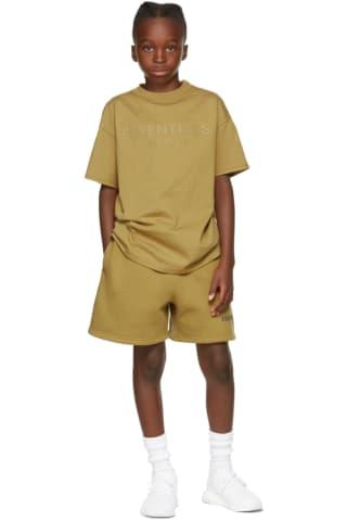 피어오브갓 에센셜 21FW 키즈 반팔 티셔츠 Essentials Kids Green Logo T-Shirt,Amber