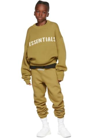 피어오브갓 에센셜 21FW 키즈 스웨터 Essentials Kids Green Knit Sweater,Amber