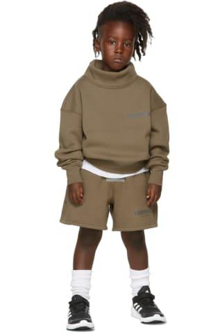 피어오브갓 에센셜 21FW 키즈 반바지 Essentials Kids Taupe Fleece Shorts,Harvest