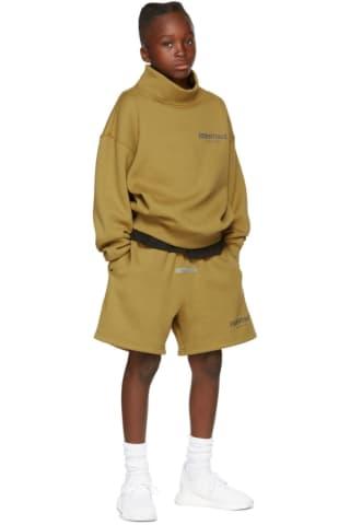 피어오브갓 에센셜 21FW 키즈 반바지 Essentials Kids Green Fleece Shorts,Amber