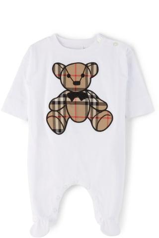 버버리 아기 우주복 점프수트 Burberry Baby White Thomas Bear Applique Jumpsuit,White