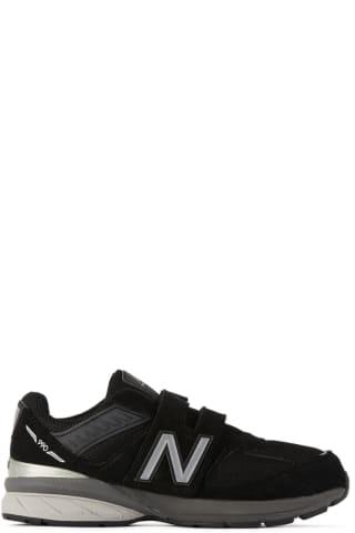뉴발란스 키즈 운동화 New Balance Kids Black & Grey Velcro 990 v5 Sneakers,Black