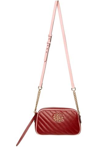 구찌 Gucci Red & Pink Marmont GG Camera Bag,Red/Pink