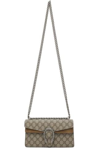 구찌 Gucci Beige Small GG Supreme Dionysus Flap Bag,Ebony/Taupe