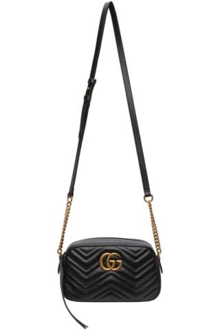구찌 Gucci Black Small GG Marmont 2.0 Camera Bag