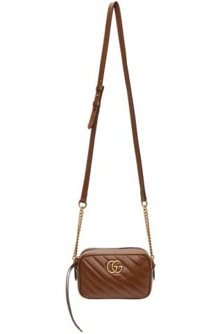 구찌 Gucci Brown Mini GG Marmont 2.0 Camera Bag,Leather