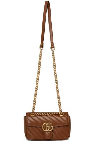 구찌 Gucci Brown Quilted Mini GG Marmont Bag