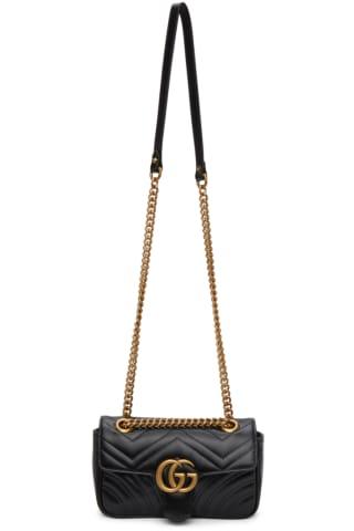 구찌 Gucci Black Mini GG Marmont 2.0 Shoulder Bag,Nero