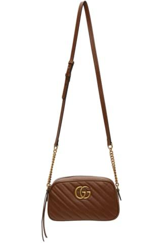 구찌 Gucci Brown Small GG Marmont 2.0 Camera Bag,Leather