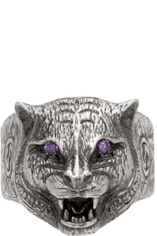 구찌 르 마르셰 드 메르베이 가든 링 Gucci Silver & Purple Le Marche des Merveilles Garden Ring