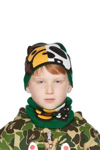 베이프 키즈 비니 넥워머 세트 BAPE Kids Green Milo Bone Beanie & Neck Warmer Set