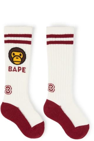 베이프 키즈 양말 BAPE Kids White & Burgundy Milo Baby Rib Long Socks,White Size: Recommended Age S: 2-3Y M: 4-5Y L: 6-
