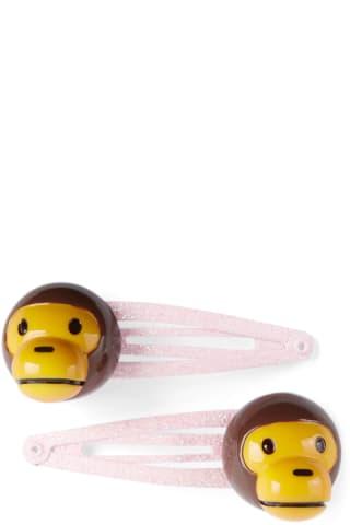 베이프 키즈 머리핀 BAPE Kids Pink & Brown Milo Baby Hair Clip Set