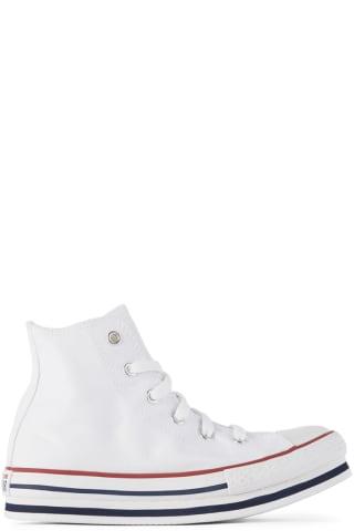 컨버스 키즈 운동화 Converse Kids White Chuck Taylor All Star Platform Sneakers,White/Midnight navy/Garnet