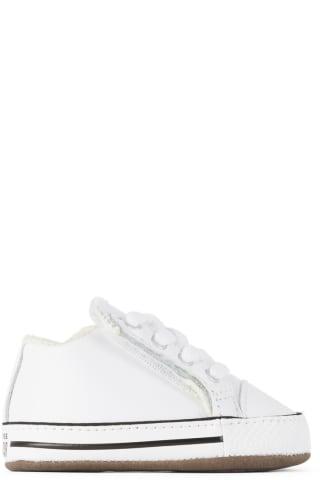 컨버스 아기 운동화 Converse Baby White Easy-On Chuck Taylor All Star Cribster Sneakers,White/Natural ivory/White