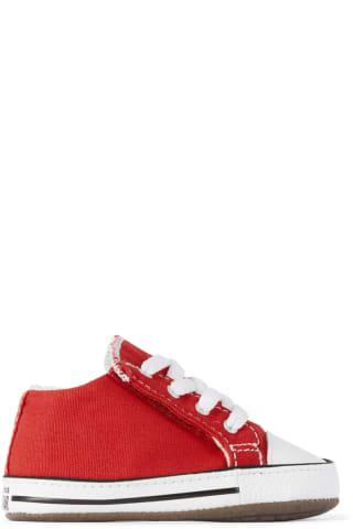 컨버스 아기 운동화 Converse Baby Red Easy-On Chuck Taylor All Star Cribster Sneakers,University red/Natural ivory