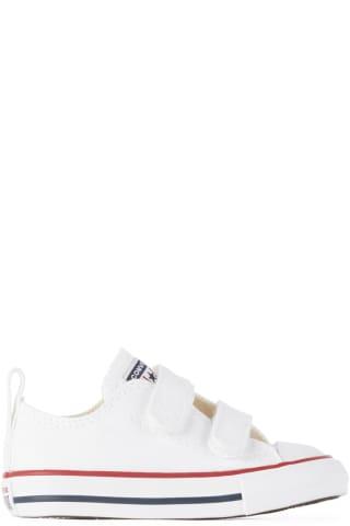 컨버스 아기 운동화 Converse Baby White Easy-On Chuck Taylor All Star Sneakers,White/Garnet/Navy