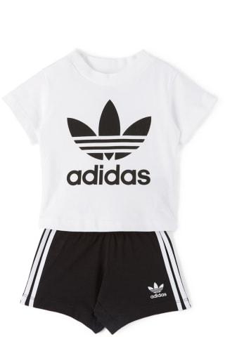 아디다스 로고 아기옷 상하의 세트Adidas Kids Baby White & Black Trefoil T-Shirt & Shorts Set,White/Black