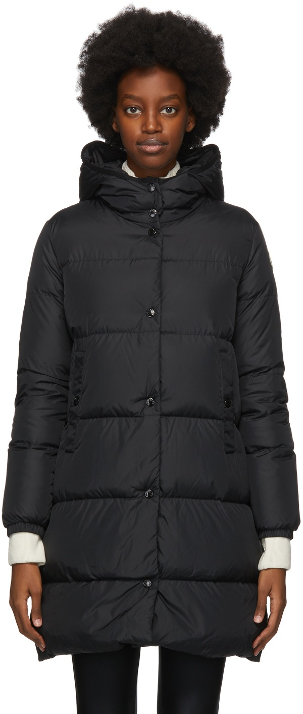 MONCLER Black Down Burgaux Coat