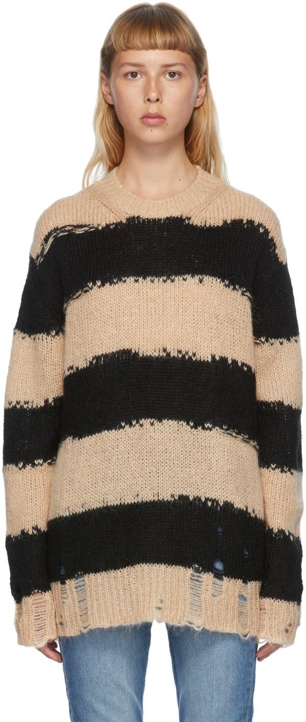 ACNE STUDIOS Black & Beige Mohair Striped Sweater