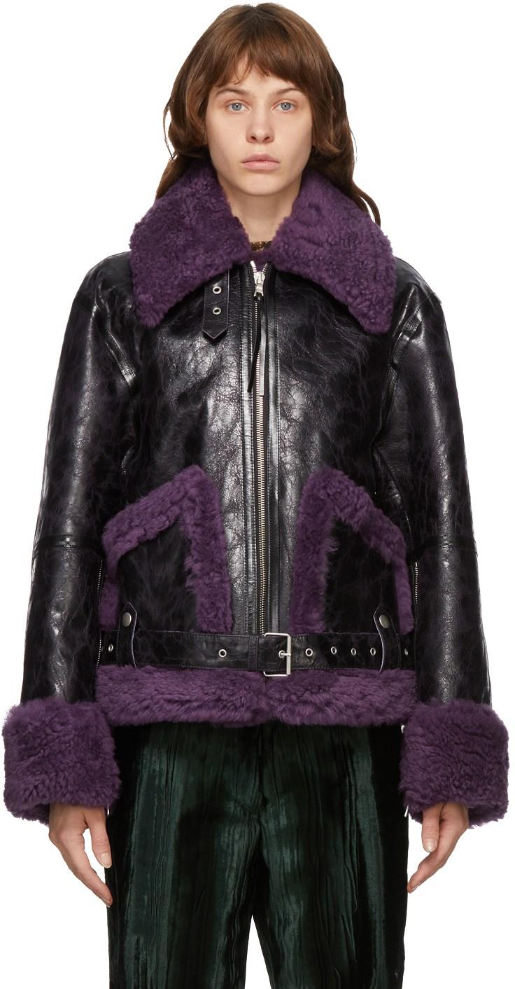 DRIES VAN NOTEN Black & Purple Lento Jacket
