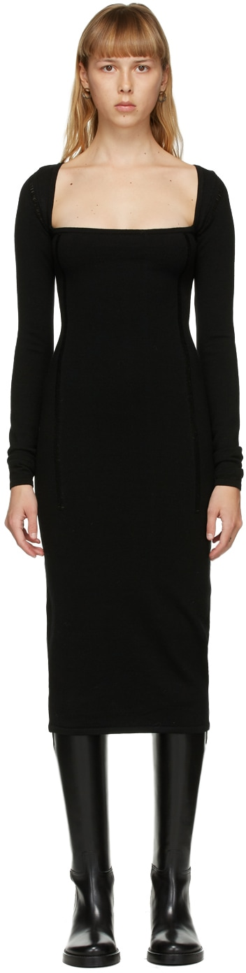 ANN DEMEULEMEESTER Black Merino Square Neck Dress