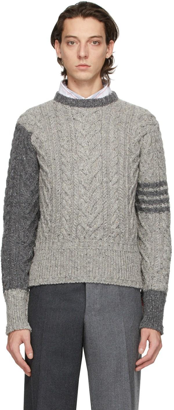 THOM BROWNE グレー モヘア アラン 4BAR ケーブル セーター