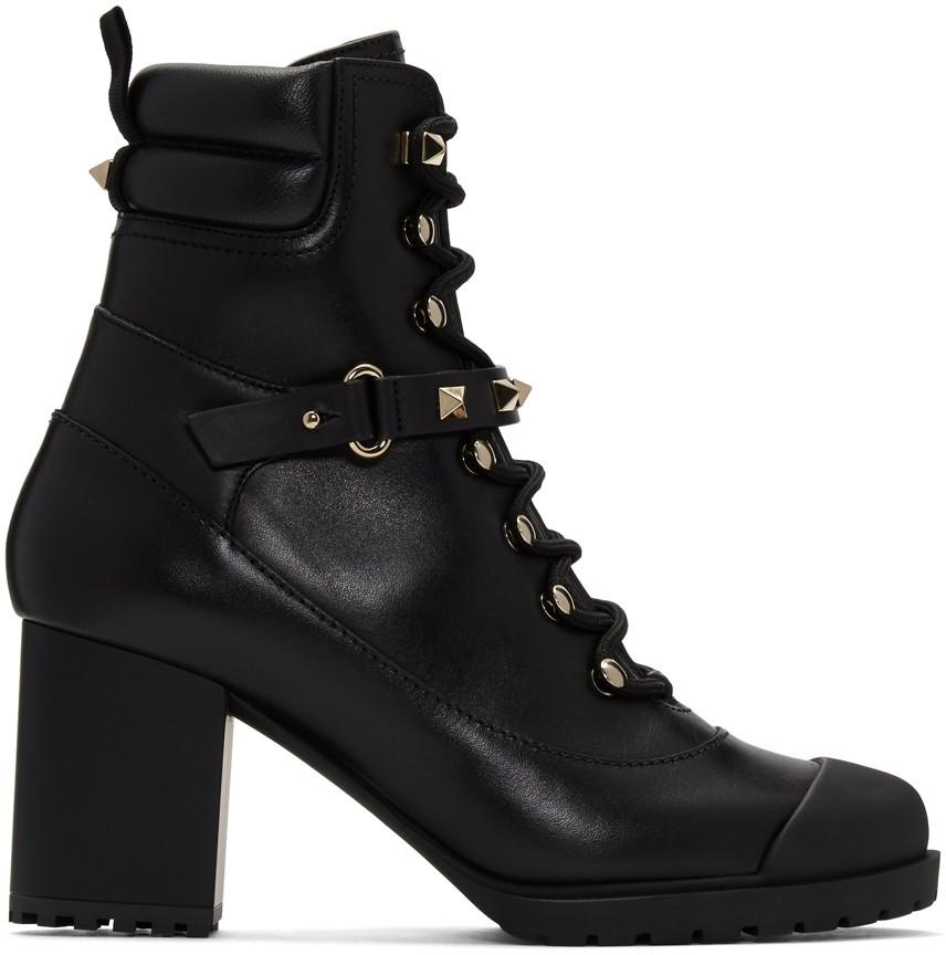 Black Valentino Garavani Rockstud Heeled Combat Boots
