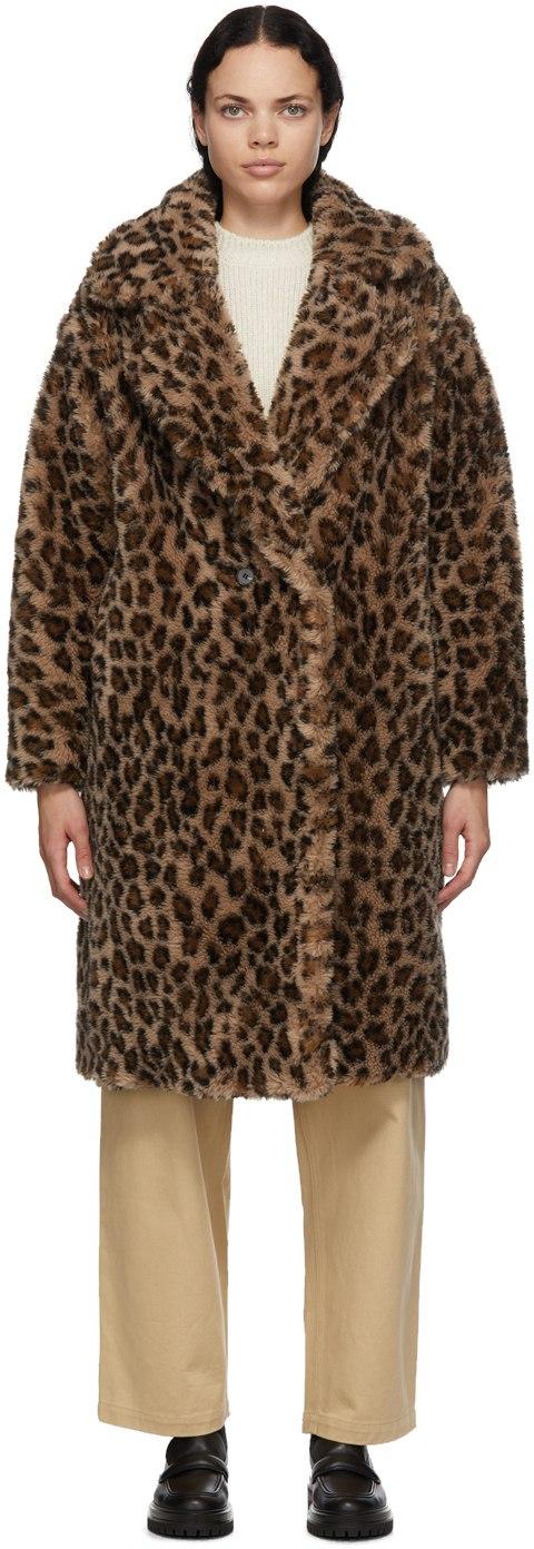 YVES SALOMON METEO Brown & Beige Wool Leopard Coat
