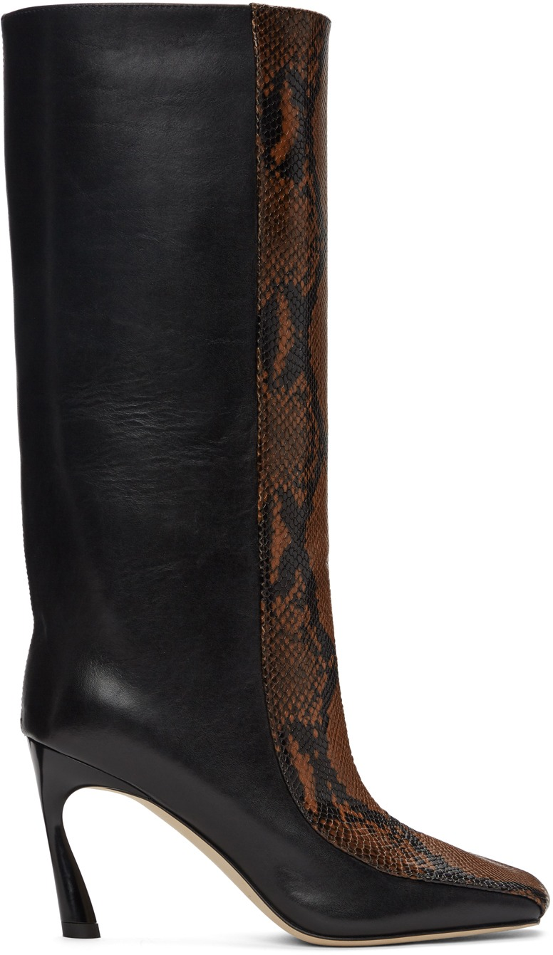 JIMMY CHOO Black & Brown Snake Mobyn 85 Tall Boots